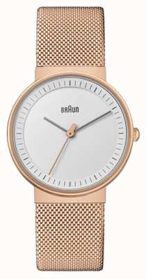 Braun Mujer | clásico | malla de pvd de oro rosa | esfera blanca BN0031RGMHL