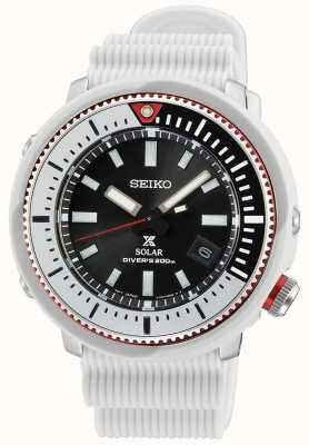Seiko Reloj solar para hombre Prospex | correa de silicona blanca SNE545P1