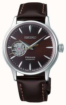 Seiko   presagiar damas mecánicas   piel de becerro marrón   esfera marrón SSA783J1