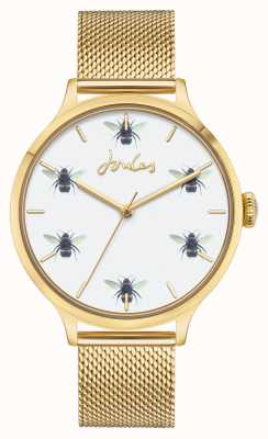 Joules Mujeres | malla de pvd de oro | esfera de abeja blanca JSL030GM
