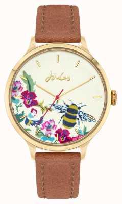 Joules Mujeres | correa de cuero marrón | esfera de abeja floral JSL030TG
