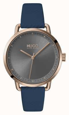 HUGO #mellow | correa de cuero azul | esfera gris | 1540054