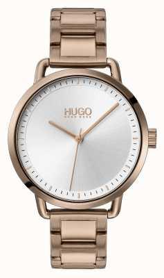 HUGO #mellow | pulsera de acero chapado en oro beige | esfera plateada | 1540056
