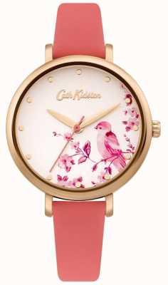 Cath Kidston Correa de cuero rosa para mujer | esfera de plata con pájaros florales CKL099PRG