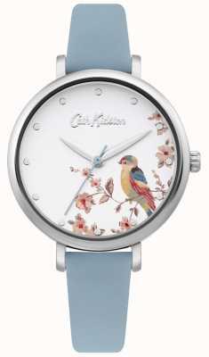 Cath Kidston Correa de cuero azul pálido | esfera de plata con pájaros florales CKL099US