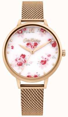 Cath Kidston El | correa de malla de oro rosa para mujer | esfera floral blanca CKL095RGM
