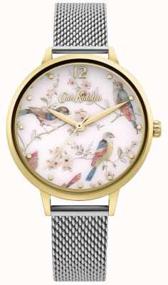 Cath Kidston El | esfera con estampado de pájaros florales para mujer | pulsera de malla de plata CKL095GSM