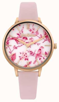 Cath Kidston Esfera con estampado floral / pájaro | correa de piel rosa | CKL106PRG