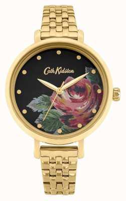 Cath Kidston | oxford de mujer | pulsera de acero chapado en oro | esfera floral CKL087GM