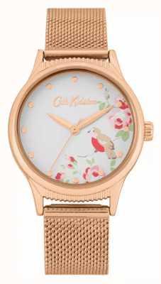 Cath Kidston Correa de malla de oro rosa | esfera blanca con estampado floral | CKL091RGM