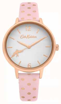 Cath Kidston Correa de piel de lunares rosa | esfera blanca | CKL088P