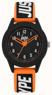 Hype El | correa de silicona naranja / negra | esfera negra | HYK004OB