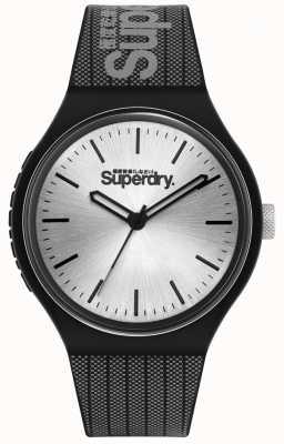 Superdry Esfera plateada sunray | correa de silicona estampada negra y gris | SYG293B