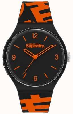 Superdry Correa de silicona negra / naranja | esfera negra mate | SYG294BO