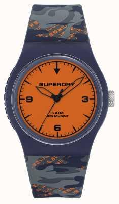 Superdry Esfera naranja | correa de silicona azul marino / naranja | SYG296UO