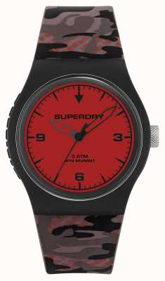 Superdry Unisex   esfera roja   correa de camuflaje de goma SYG296BR