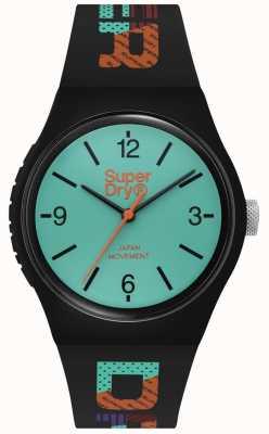 Superdry Esfera verde azulado mate | correa de silicona negra | SYG301BAU