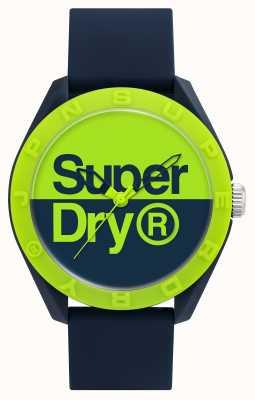 Superdry Correa de silicona azul marino | esfera azul / verde SYG303UN