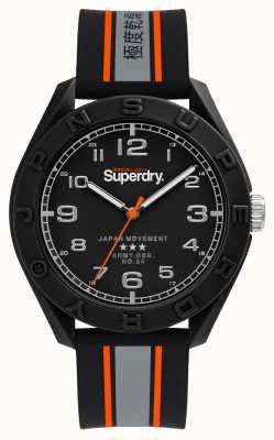 Superdry Esfera negra mate | correa negra / gris / naranja | SYG305EB