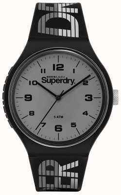 Superdry El   carreras urbanas xl   correa de silicona negra   esfera gris   SYG269BE