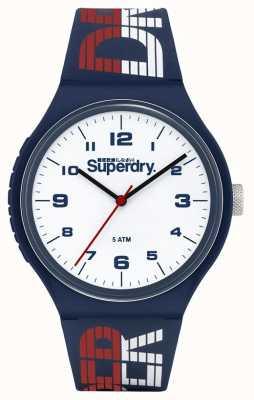 Superdry Correa de silicona azul / blanca / roja | esfera blanca | SYG269UW