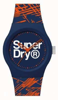 Superdry Correa de silicona azul marino / naranja | esfera azul marino / naranja / blanco | SYG292OU