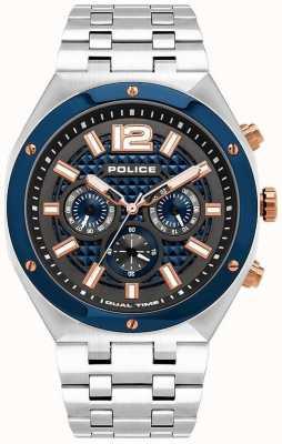 Police El | kediri | pulsera de acero inoxidable | esfera azul / pistola de metal | 15995JSTBL/61M
