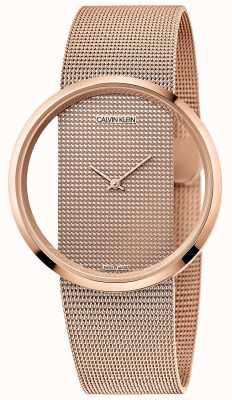 Calvin Klein El | glam | pulsera de malla chapada en pvd de oro rosa | esfera de oro rosa K942362A