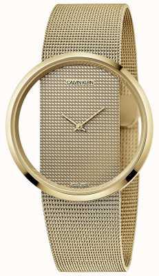 Calvin Klein | glam | brazalete de malla de acero chapado en oro pvd | esfera de oro | K9423Y29
