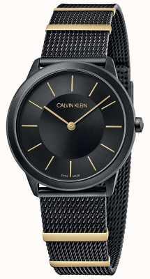 Calvin Klein El | mínimo | pulsera de malla negra | esfera negra | 35mm K3M524Z1
