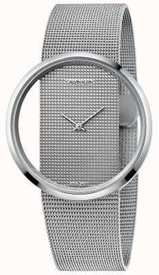 Calvin Klein El | glam | pulsera de malla de acero plateado | esfera plateada | K9423T27