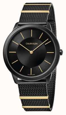 Calvin Klein El | mínimo | pulsera de malla de acero negro | esfera negra | K3M514Z1