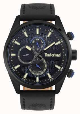 Timberland El   buscadores al aire libre   correa de cuero negro   esfera negra / azul   15953JSB/02