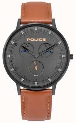 Police El | berkeley para hombre | correa de cuero marrón | esfera gris | 15968JSB/39