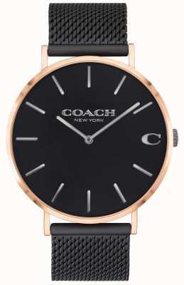 Coach El | charles de hombres | pulsera de malla negra | esfera negra | 14602470