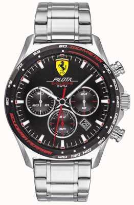 Scuderia Ferrari El | pilota evo para hombre | pulsera de acero inoxidable | esfera negra | 0830714