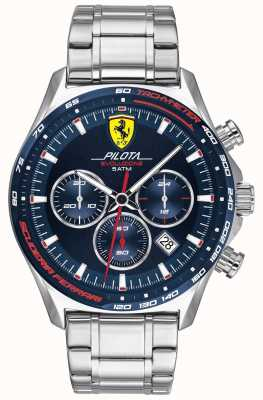 Scuderia Ferrari El | pilota evo para hombre | pulsera de acero inoxidable | esfera azul 0830749