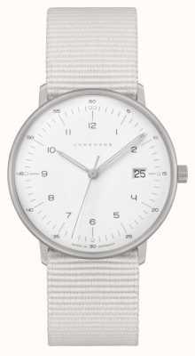 Junghans Max bill damen | correa de nylon blanca | esfera blanca 047/4050.04