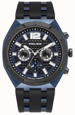 Police Kediri | correa de caucho negro | esfera azul 15995JSBLU/03P