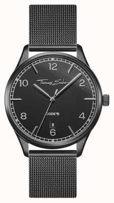 Thomas Sabo El | glam y alma | pulsera de malla negra para mujer | esfera negra WA0362-202-203-36