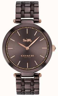 Coach El | parque de mujeres | pulsera de acero negro / marrón | esfera marrón 14503507