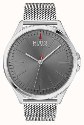 HUGO #smash | pulsera de malla de plata | esfera gris | 1530135