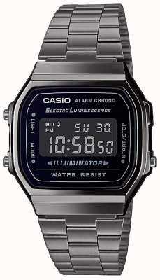 Casio | vendimia | pulsera de plata de acero inoxidable | esfera negra | A168WEGG-1BEF