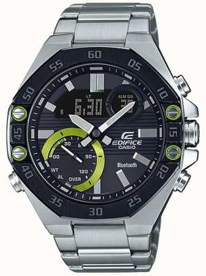 Casio | edificio bluetooth | acero inoxidable | esfera negra ECB-10DB-1AEF