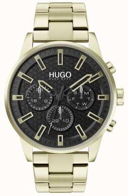 HUGO #seek | pulsera de oro y acero inoxidable | esfera negra | 1530152
