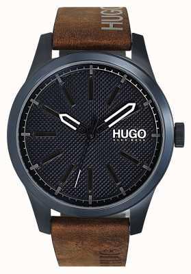 HUGO #invent | esfera azul | correa de cuero marrón 1530145