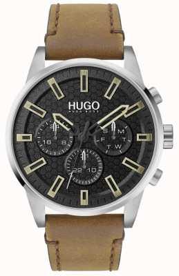 HUGO #seek | esfera negra | correa de cuero marrón 1530150