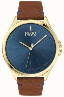 HUGO #smash | esfera azul | correa de cuero marrón 1530134
