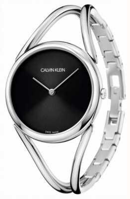 Calvin Klein Señora | brazalete de acero inoxidable | esfera negra KBA23121