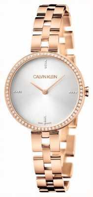 Calvin Klein Elegancia | pulsera de oro rosa de acero inoxidable | esfera plateada KBF23X4W
